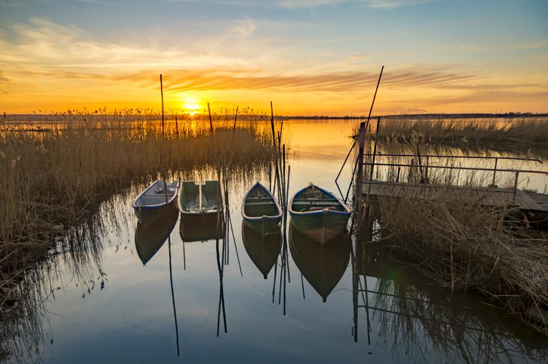 Bild von Ruderbooten im Sonnenuntergang als Sinnbild für einen Grundlagenkurs COBIT5 Foundation bei ITSM Partner