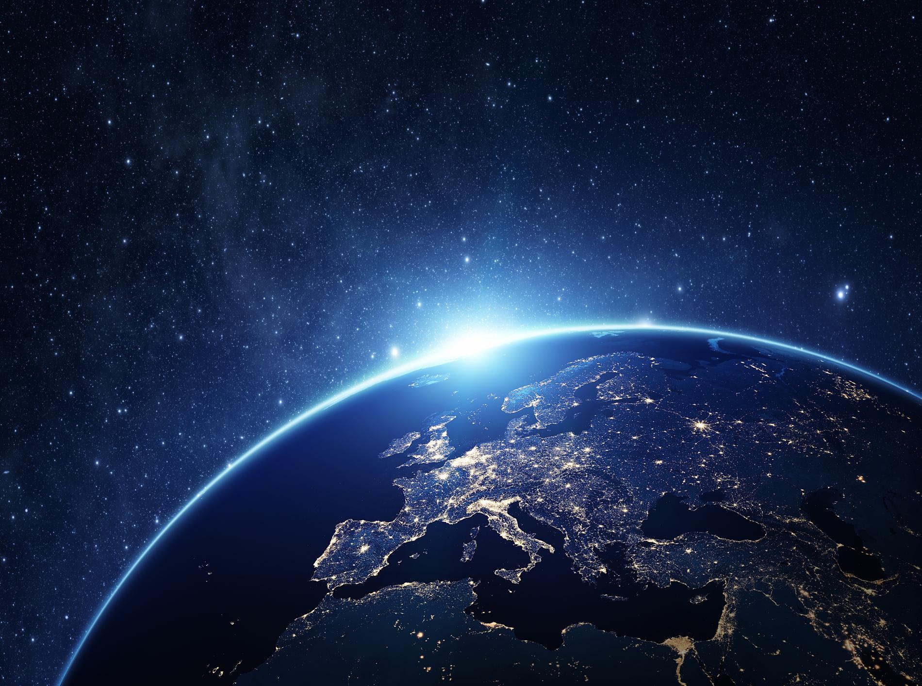 Sterne und Erde mit leuchtenden Städten als Slider für Service Space