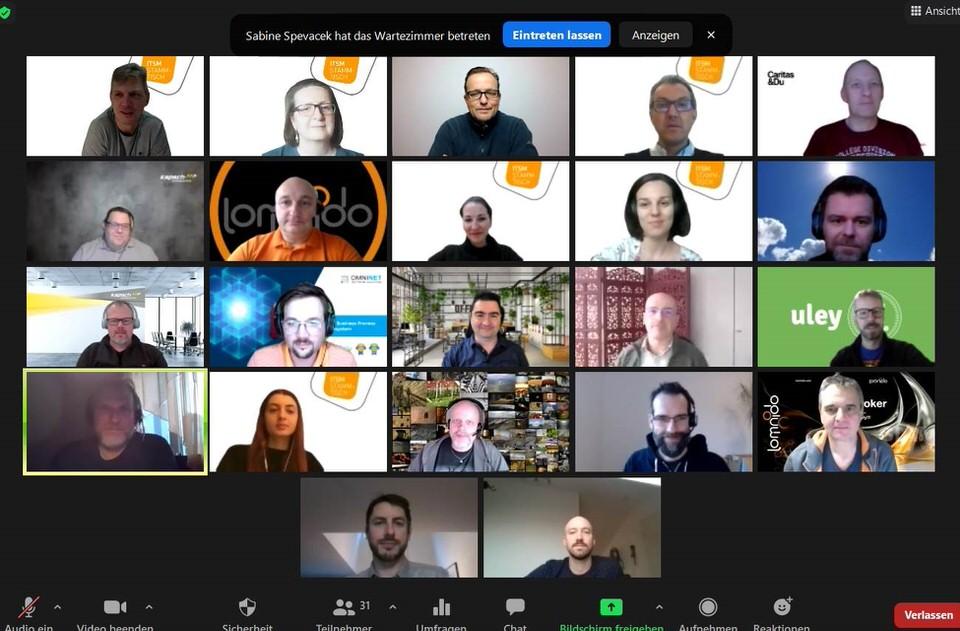 Screenshot der Teilnehmer:innen am virtuellen Stammtisch im Februar von ITSM Partner Wien