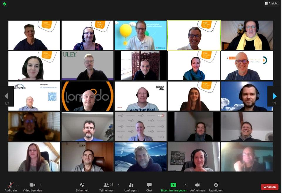 Ein Bild der Teilnehmer des ITSM Stammtisch im März 2021.
