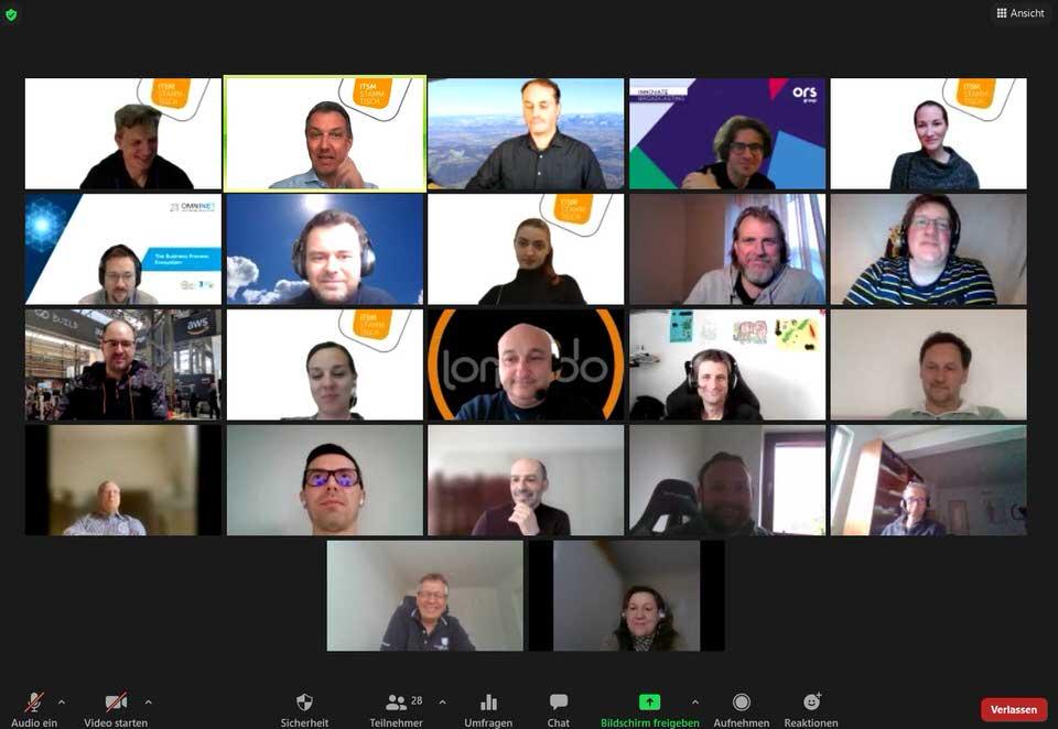 Screenshot des Zoom Meetings vom virtuellen Stammtisch im April von ITSM Partner Wien